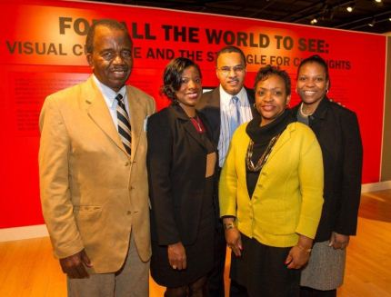 Senator Currie with members of the Legislative Black Caucus and UMBC President Dr. Freeman Hrabowski at an event at UMBC